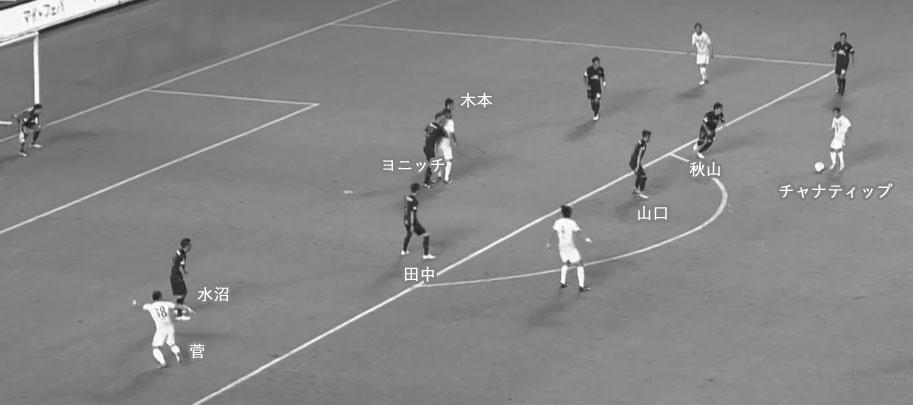 J1第20節 セレッソ大阪 VS コンサドーレ札幌 チャナティップのスルーパス