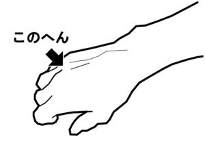 インステップキックの位置を手に置き換えた時の位置