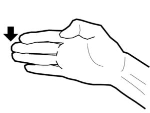 トゥーキックを手で置き換えたイメージ