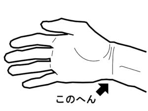 ヒールキックの位置を手に置き換えた時の位置