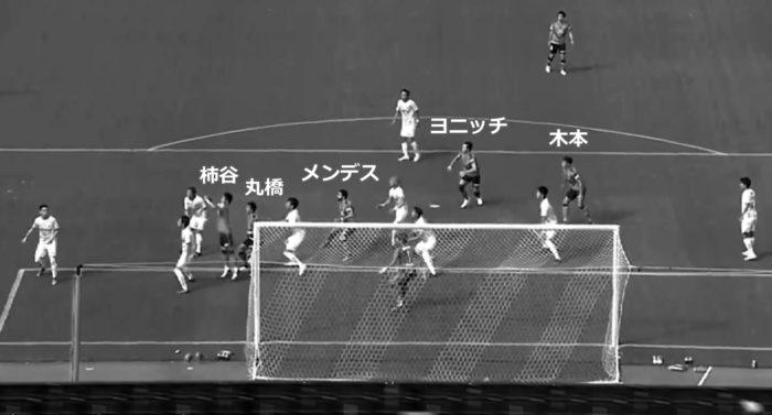 ゴール直前の各選手の位置